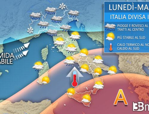 Meteo. Prossimi giorni con piogge e temporali al Centronord